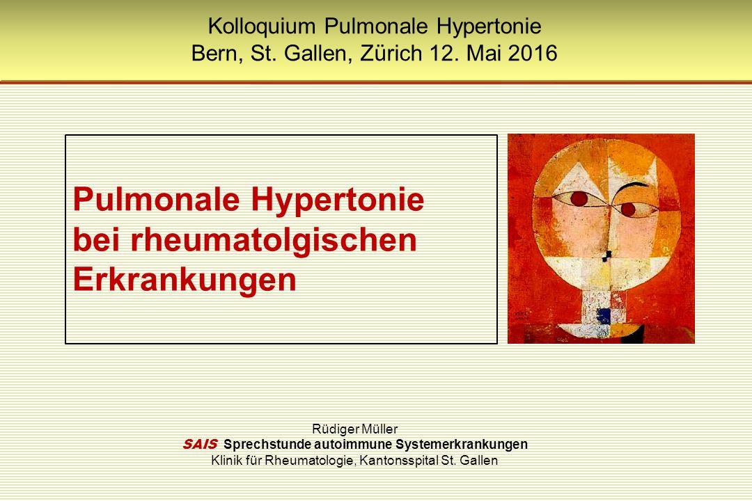 PH - Klassifikation Pulmonal-venöse Hypertonie (Linksherzinsuffizienz) 79%Systolische oder diastolische Dysfunktion Klappenerkrankung Pulmonale Hypertonie bei Lungenerkrankung oder Hypoxie 10%COPD Insterstitielle Pneumopathie Schlafassoziierte Atemstörung Alveoläre Hypoventilation Chronische Höhenexposition Lungenfehlentwicklungen Pulmonale Hypertonie bei unklarer oder multifaktorieller Genese 7%Myeloproliferative Erkrankung Sarkoidose, Histiozytose X, Lymphangioleiomyomatose, Neurofibrose, Vaskulitis Glykogenspeicherkrankheiten, SD- Erkrankungen Obstruktion durch Tumor, Mediastinalfibrose, chronisches dialysepflichtiges Nierenversagen