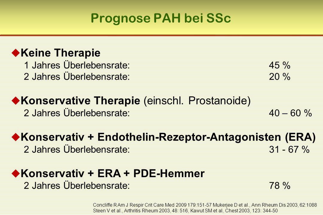 Prognose PAH bei SSc  Keine Therapie 1 Jahres Überlebensrate: 45 % 2 Jahres Überlebensrate: 20 %  Konservative Therapie (einschl.