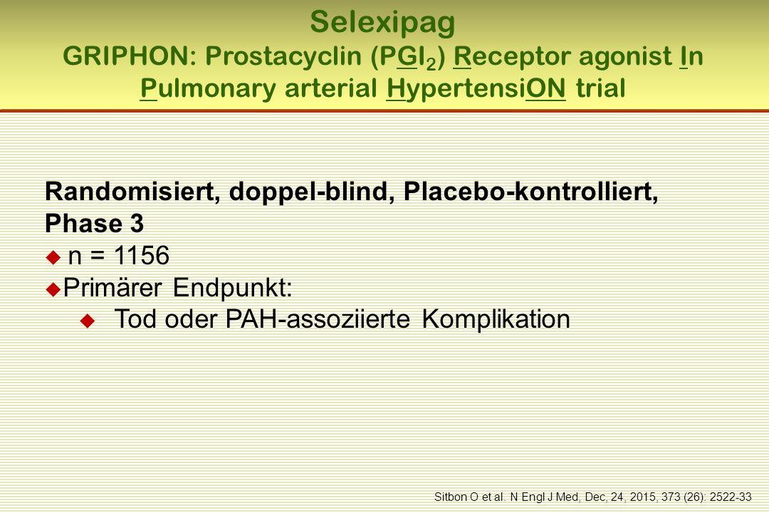 Selexipag GRIPHON: Prostacyclin (PGI 2 ) Receptor agonist In Pulmonary arterial HypertensiON trial Randomisiert, doppel-blind, Placebo-kontrolliert, Phase 3  n = 1156  Primärer Endpunkt:  Tod oder PAH-assoziierte Komplikation Sitbon O et al.