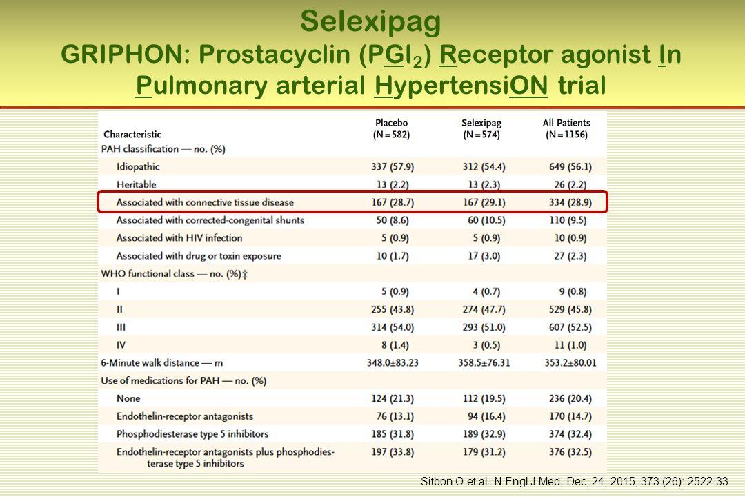 Selexipag GRIPHON: Prostacyclin (PGI 2 ) Receptor agonist In Pulmonary arterial HypertensiON trial Sitbon O et al.