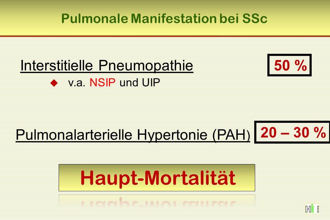 Pulmonale Manifestation bei SSc Interstitielle Pneumopathie  v.a.