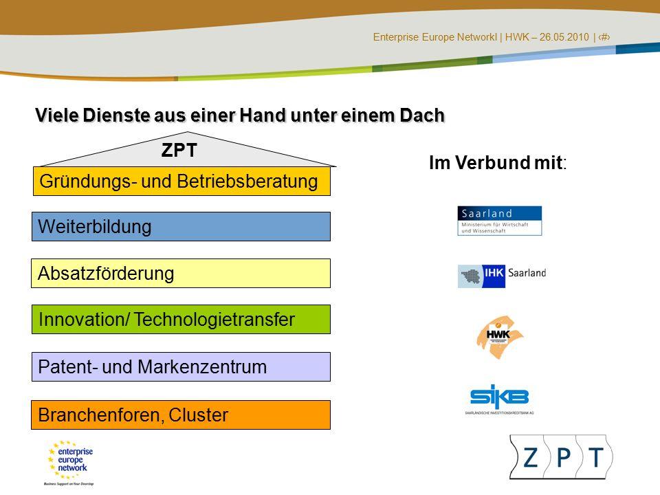 Enterprise Europe NetworkI | HWK – 26.05.2010 | ‹#› Gründungs- und Betriebsberatung Viele Dienste aus einer Hand unter einem Dach Weiterbildung Absatzförderung Innovation/ Technologietransfer Patent- und Markenzentrum Branchenforen, Cluster ZPT Im Verbund mit: