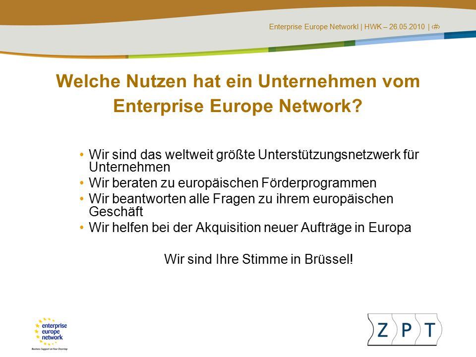 Enterprise Europe NetworkI   HWK – 26.05.2010   ‹#› EU-Förderprogramme Herausgabe von Leitfäden und Newsletter Durchführung von Seminaren und Workshops Bewertung von Projektideen auf ihre Förderungswürdigkeit Suche nach internationalen Projektpartnern Unterstützung bei der Antragsstellung