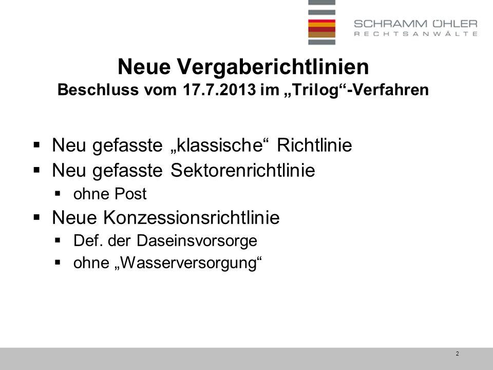 """2 Neue Vergaberichtlinien Beschluss vom 17.7.2013 im """"Trilog -Verfahren  Neu gefasste """"klassische Richtlinie  Neu gefasste Sektorenrichtlinie  ohne Post  Neue Konzessionsrichtlinie  Def."""