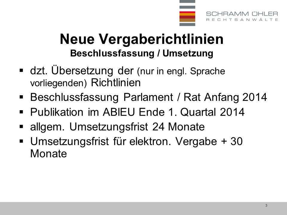 3 Neue Vergaberichtlinien Beschlussfassung / Umsetzung  dzt.