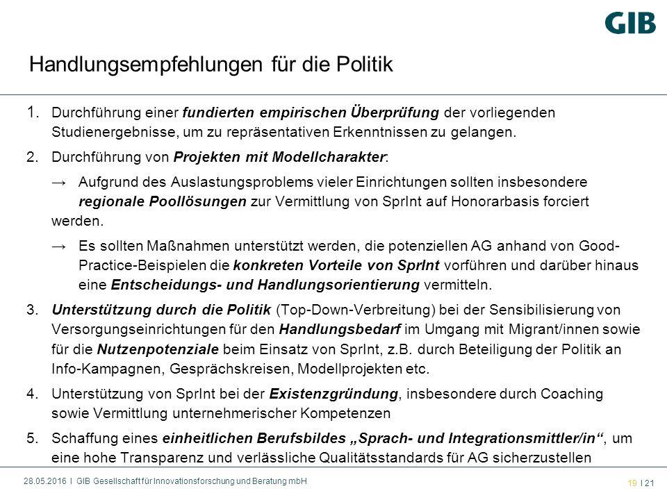 28.05.2016 l GIB Gesellschaft für Innovationsforschung und Beratung mbH 19 l 21 1.