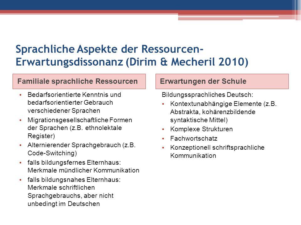 Argumente für die Förderung der Erstsprachen Vor allem zu Beginn einer Schullaufbahn und bei wenig entwickelten zweitsprachlichen Kompetenzen wäre es ratsam, auf die erstsprachlichen Ressourcen zurückzugreifen (Krumm 2005, Reich 2001), z.B.