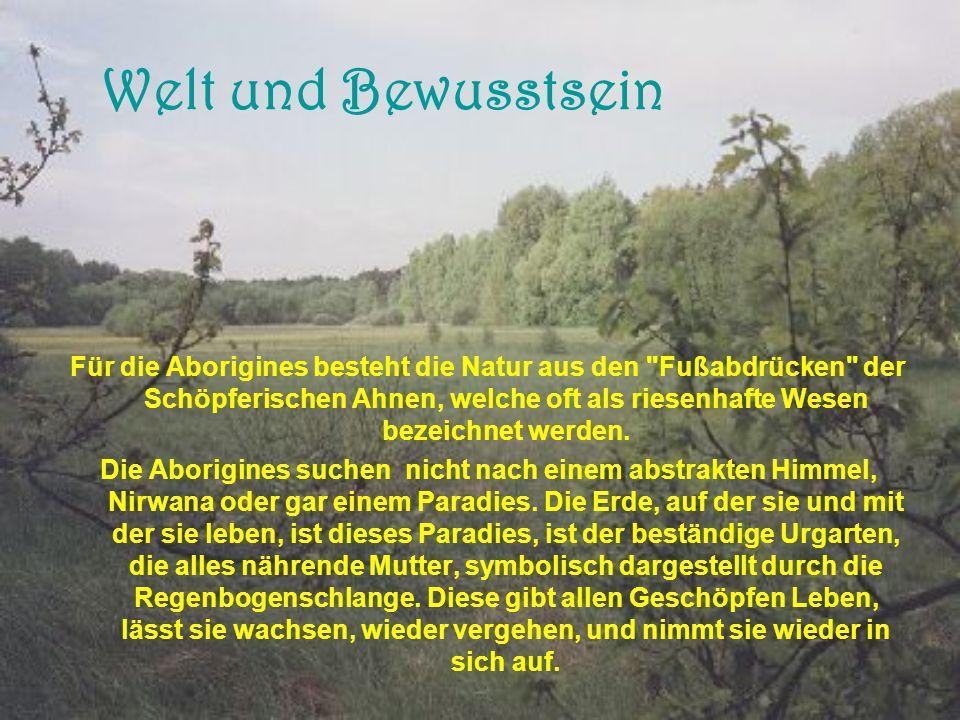 Welt und Bewusstsein Für die Aborigines besteht die Natur aus den Fußabdrücken der Schöpferischen Ahnen, welche oft als riesenhafte Wesen bezeichnet werden.