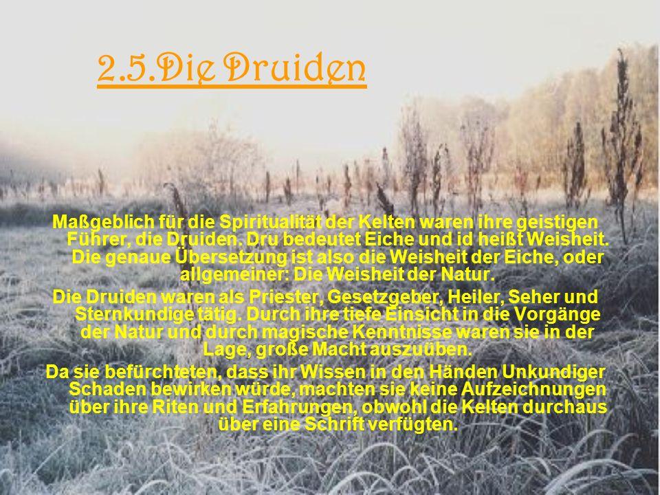 2.5.Die Druiden Maßgeblich für die Spiritualität der Kelten waren ihre geistigen Führer, die Druiden.