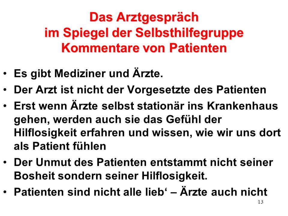 13 Das Arztgespräch im Spiegel der Selbsthilfegruppe Kommentare von Patienten Es gibt Mediziner und Ärzte.
