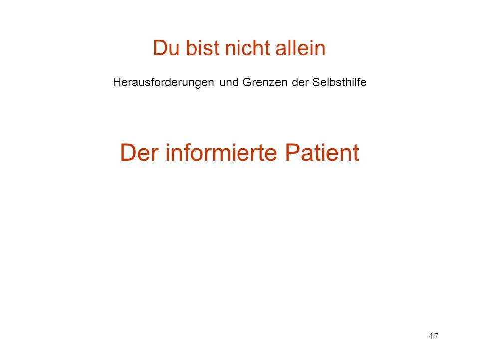 47 Du bist nicht allein Herausforderungen und Grenzen der Selbsthilfe Der informierte Patient