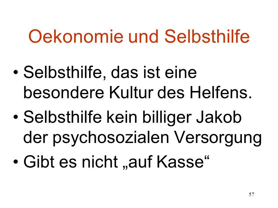 57 Oekonomie und Selbsthilfe Selbsthilfe, das ist eine besondere Kultur des Helfens.