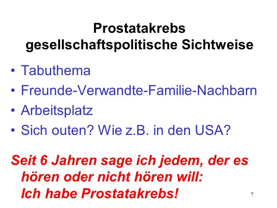 7 Prostatakrebs gesellschaftspolitische Sichtweise Tabuthema Freunde-Verwandte-Familie-Nachbarn Arbeitsplatz Sich outen.