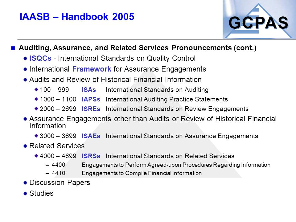 IAASB – Handbook 2005 Auditing, Assurance, and Related Services Pronouncements (cont.) ISQCs - International Standards on Quality Control Internationa