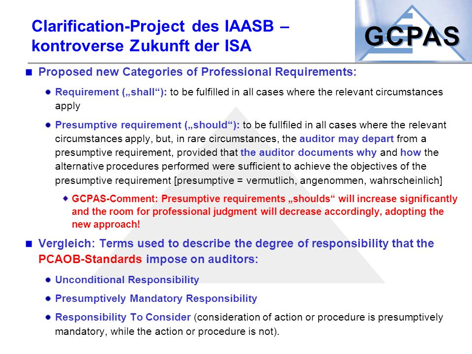 "Clarification-Project des IAASB – kontroverse Zukunft der ISA Proposed new Categories of Professional Requirements: Requirement (""shall""): to be fulfi"