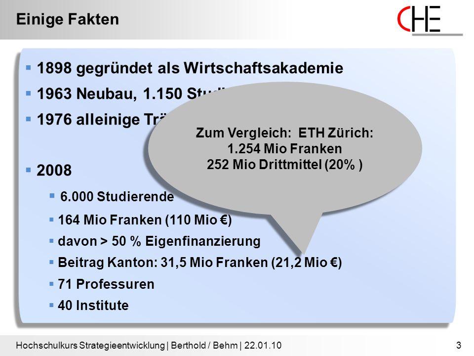 Hochschulkurs Strategieentwicklung | Berthold / Behm | 22.01.10 3 Einige Fakten  1898 gegründet als Wirtschaftsakademie  1963 Neubau, 1.150 Studiere