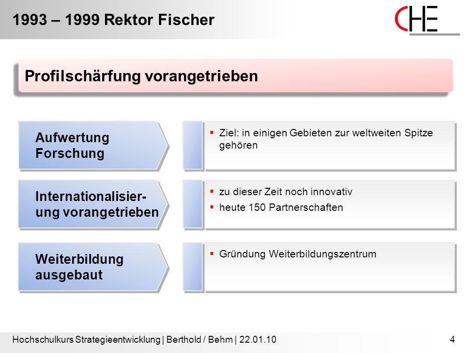 1993 – 1999 Rektor Fischer Hochschulkurs Strategieentwicklung | Berthold / Behm | 22.01.104  Ziel: in einigen Gebieten zur weltweiten Spitze gehören