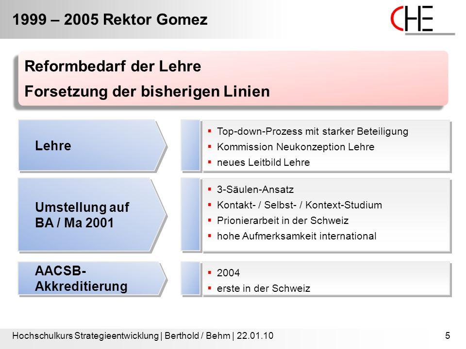 1999 – 2005 Rektor Gomez Hochschulkurs Strategieentwicklung | Berthold / Behm | 22.01.105  Top-down-Prozess mit starker Beteiligung  Kommission Neuk