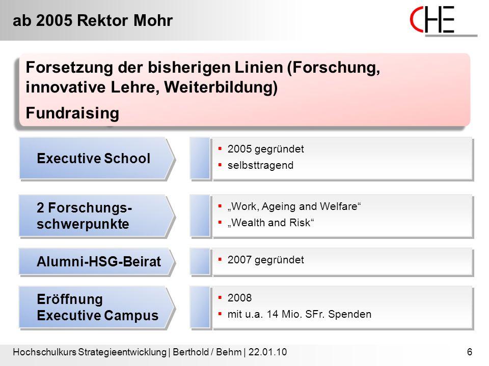 ab 2005 Rektor Mohr Hochschulkurs Strategieentwicklung | Berthold / Behm | 22.01.106  2005 gegründet  selbsttragend  2005 gegründet  selbsttragend