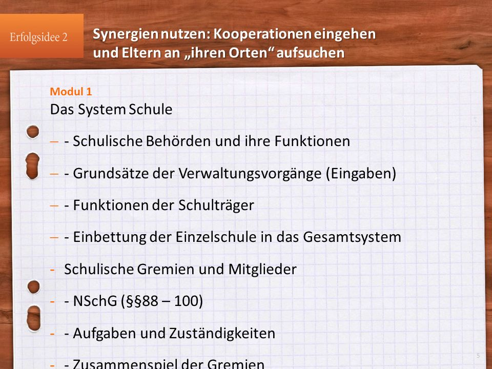 Modul 1 Das System Schule  - Schulische Behörden und ihre Funktionen  - Grundsätze der Verwaltungsvorgänge (Eingaben)  - Funktionen der Schulträger