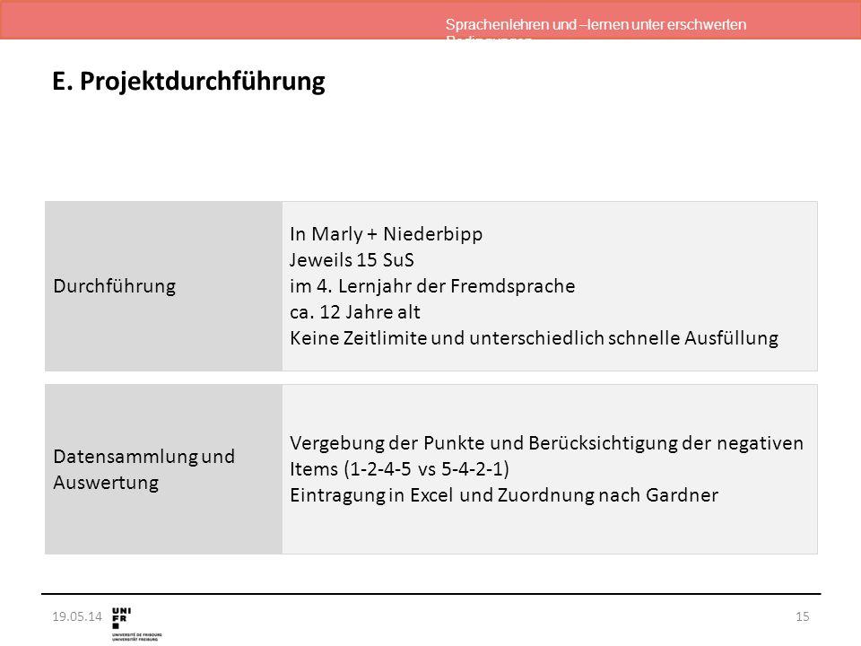 Sprachenlehren und –lernen unter erschwerten Bedingungen 19.05.14 E. Projektdurchführung 15 Durchführung Datensammlung und Auswertung In Marly + Niede