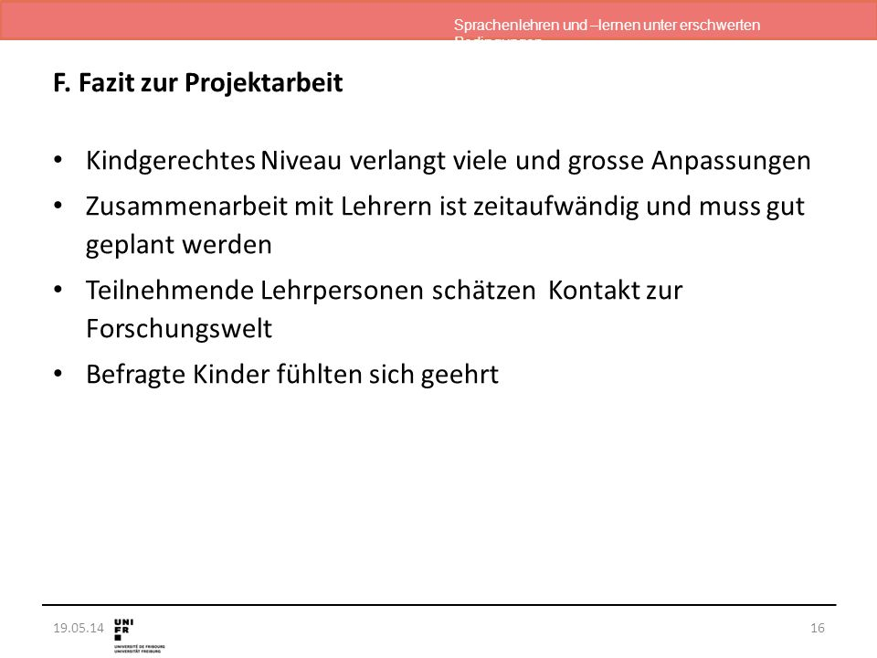 Sprachenlehren und –lernen unter erschwerten Bedingungen 19.05.14 F.