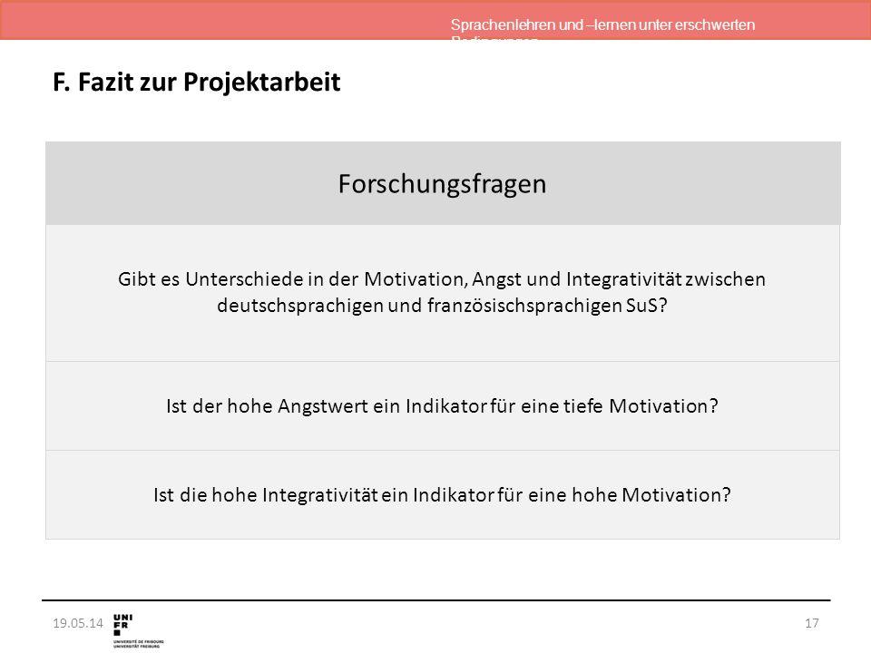 Sprachenlehren und –lernen unter erschwerten Bedingungen 19.05.1417 F. Fazit zur Projektarbeit Forschungsfragen Gibt es Unterschiede in der Motivation