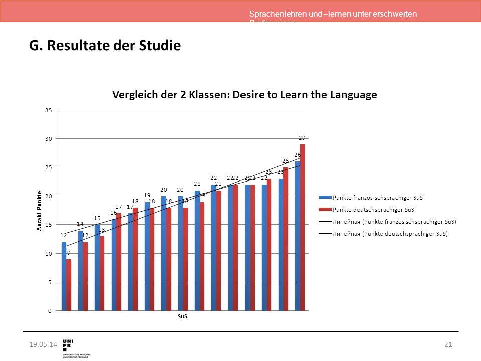 Sprachenlehren und –lernen unter erschwerten Bedingungen 19.05.14 G. Resultate der Studie 21