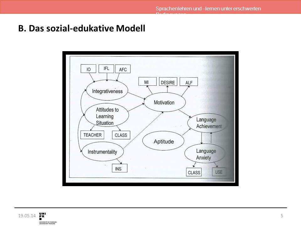 Sprachenlehren und –lernen unter erschwerten Bedingungen 19.05.14 B. Das sozial-edukative Modell 5