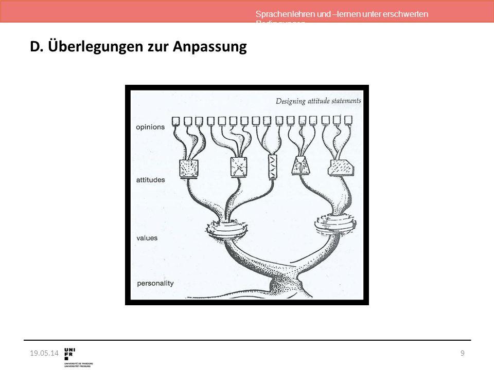 Sprachenlehren und –lernen unter erschwerten Bedingungen 19.05.14 D. Überlegungen zur Anpassung 9