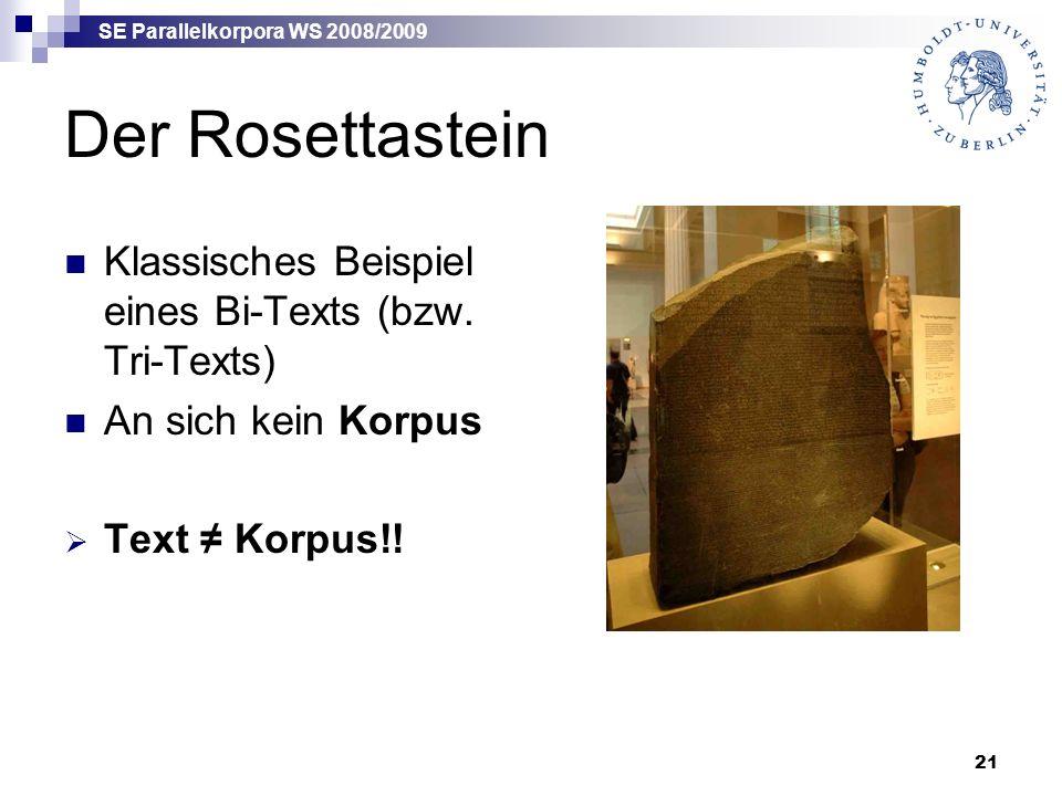 SE Parallelkorpora WS 2008/2009 21 Der Rosettastein Klassisches Beispiel eines Bi-Texts (bzw.