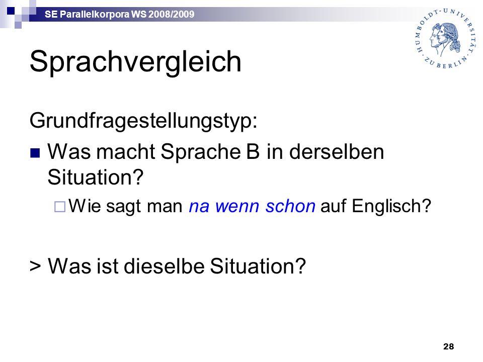 SE Parallelkorpora WS 2008/2009 28 Sprachvergleich Grundfragestellungstyp: Was macht Sprache B in derselben Situation.
