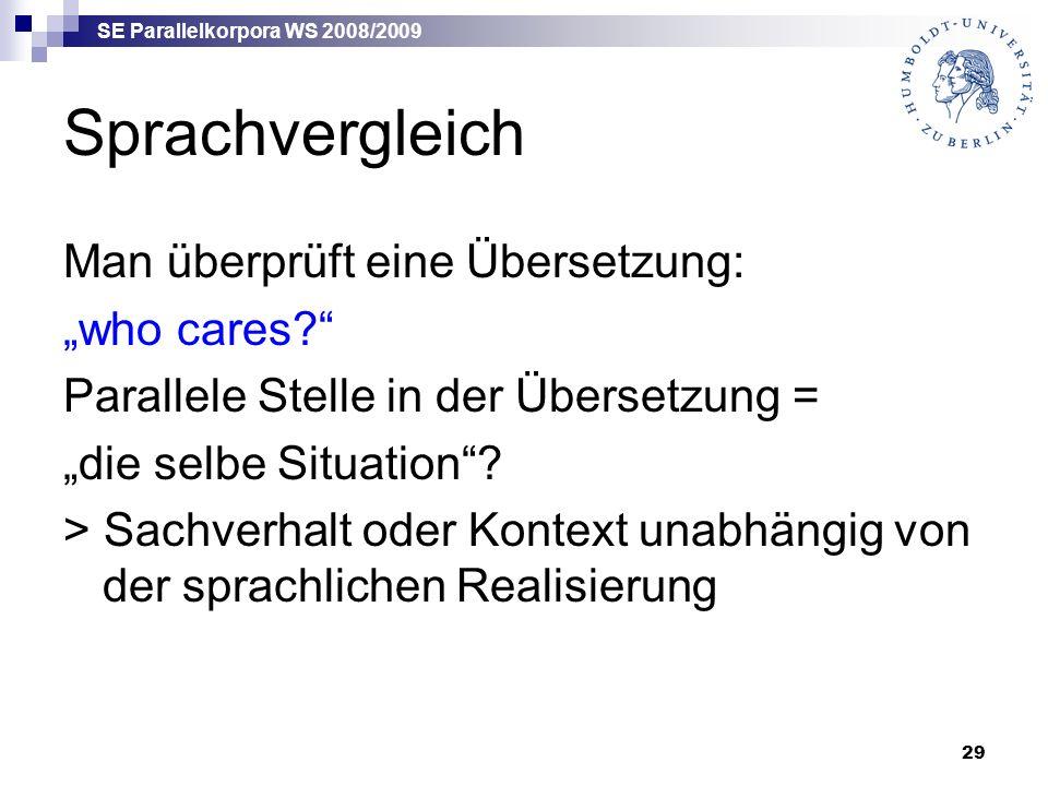 """SE Parallelkorpora WS 2008/2009 29 Sprachvergleich Man überprüft eine Übersetzung: """"who cares? Parallele Stelle in der Übersetzung = """"die selbe Situation ."""
