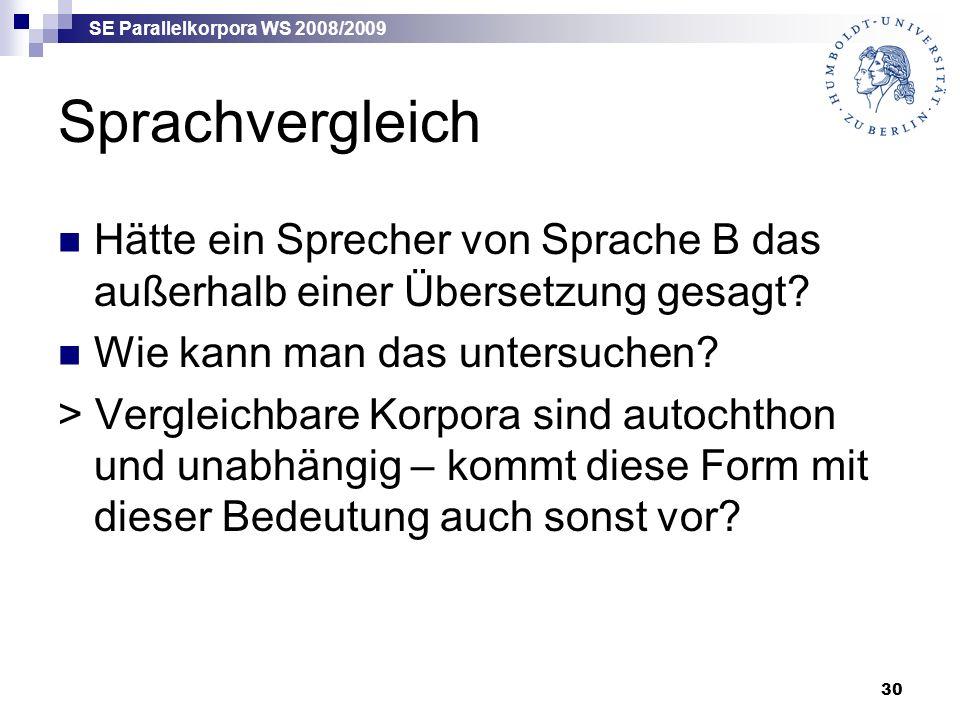 SE Parallelkorpora WS 2008/2009 30 Sprachvergleich Hätte ein Sprecher von Sprache B das außerhalb einer Übersetzung gesagt.