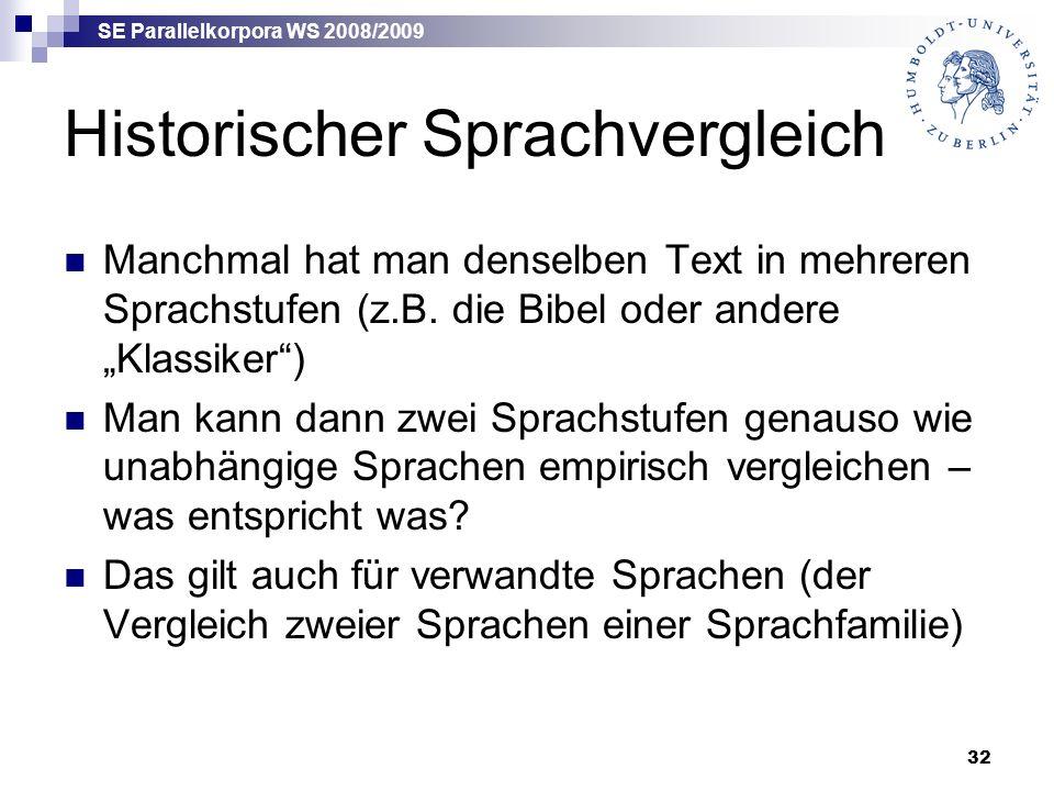 SE Parallelkorpora WS 2008/2009 32 Historischer Sprachvergleich Manchmal hat man denselben Text in mehreren Sprachstufen (z.B.