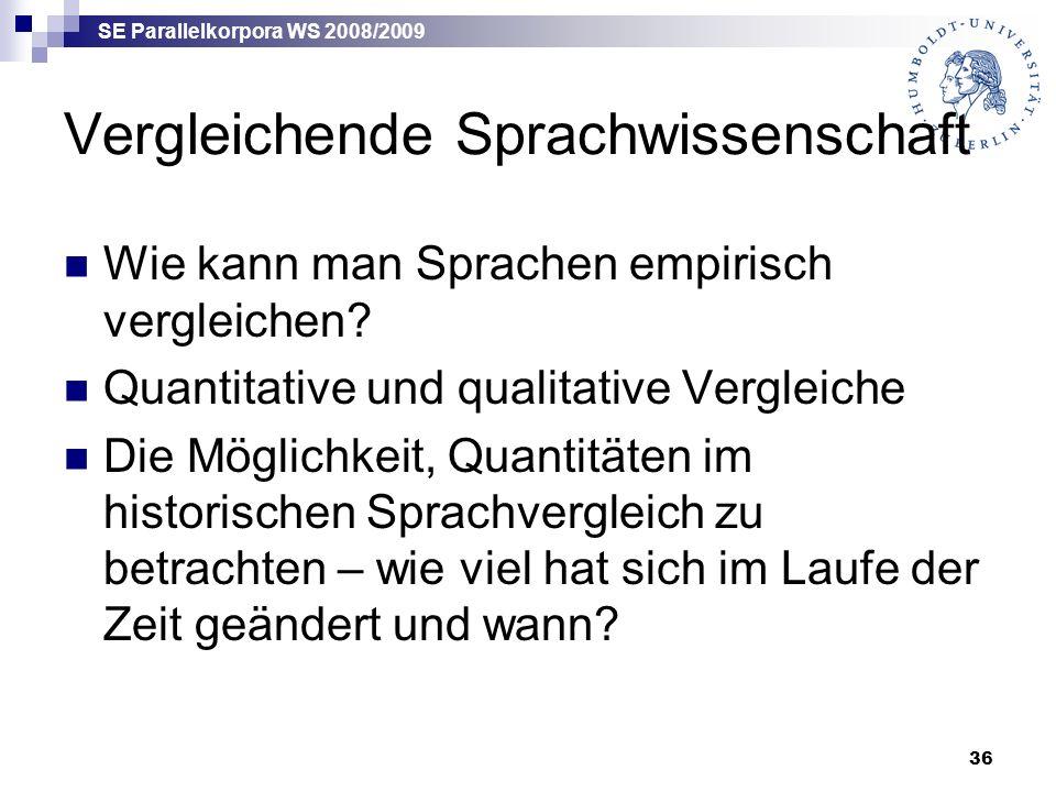 SE Parallelkorpora WS 2008/2009 36 Vergleichende Sprachwissenschaft Wie kann man Sprachen empirisch vergleichen.