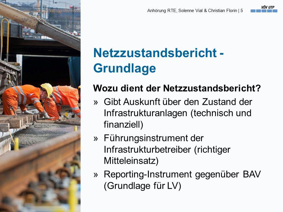 Anhörung RTE, Solenne Vial & Christian Florin   16 Begriffe [3] Der Ist-Zustand (Wert) »Der «Ist-Zustand» entspricht der Bewertung der Anlagen gemäss den fünf Zustandsklassen.