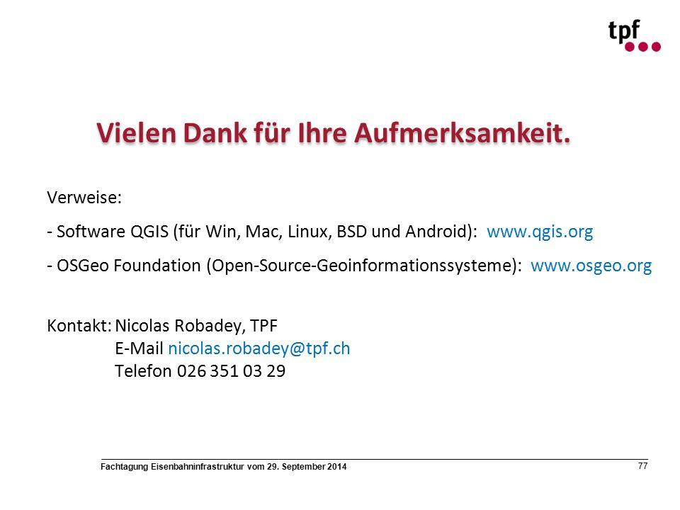 Fachtagung Eisenbahninfrastruktur vom 29. September 2014 77 Vielen Dank für Ihre Aufmerksamkeit.