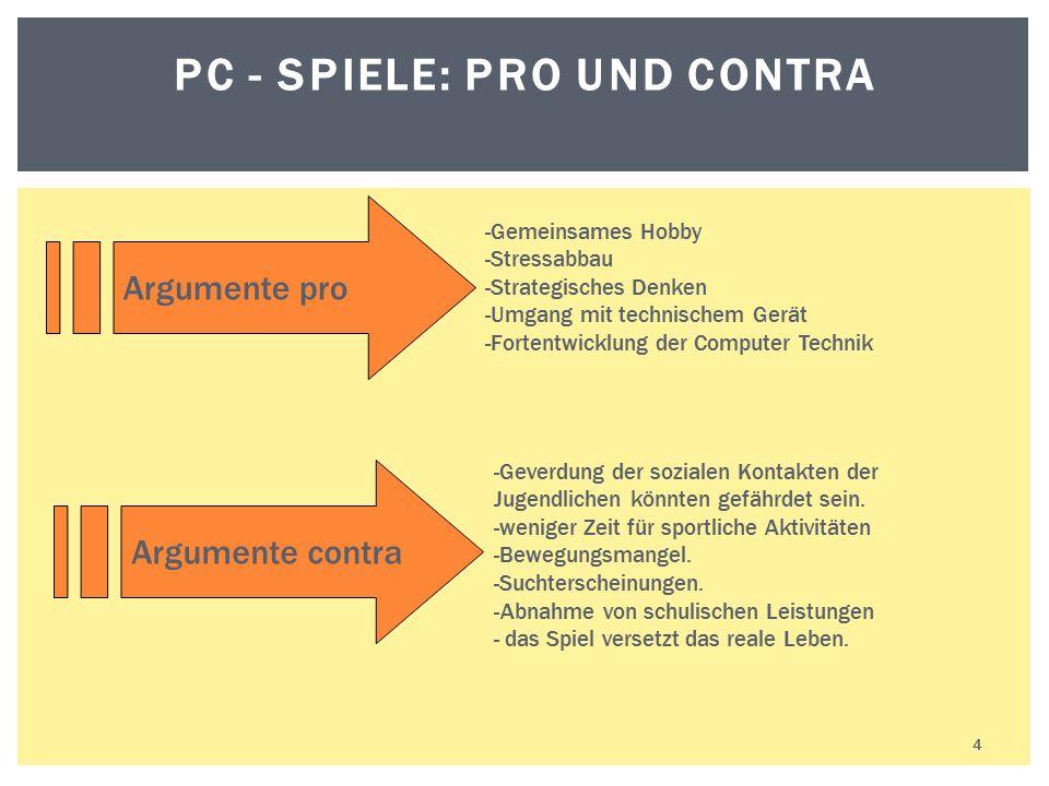 4 PC - SPIELE: PRO UND CONTRA -Gemeinsames Hobby -Stressabbau -Strategisches Denken -Umgang mit technischem Gerät -Fortentwicklung der Computer Techni