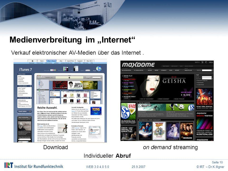 """WEB 3.0 4.0 5.0 25.9.2007© IRT – Dr.K.Illgner Medienverbreitung im """"Internet Verkauf elektronischer AV-Medien über das Internet."""