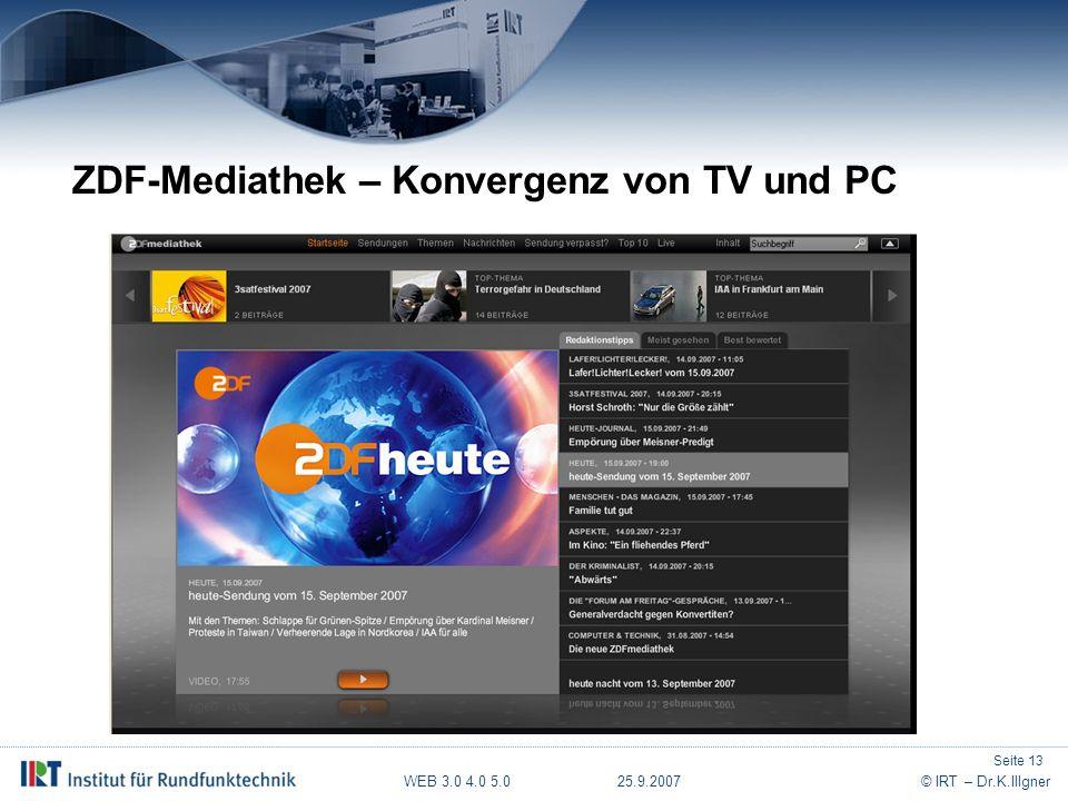 WEB 3.0 4.0 5.0 25.9.2007© IRT – Dr.K.Illgner ZDF-Mediathek – Konvergenz von TV und PC Seite 13