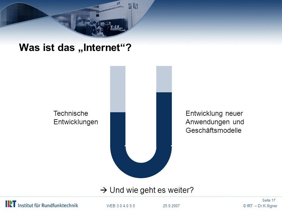 """WEB 3.0 4.0 5.0 25.9.2007© IRT – Dr.K.Illgner Was ist das """"Internet ."""