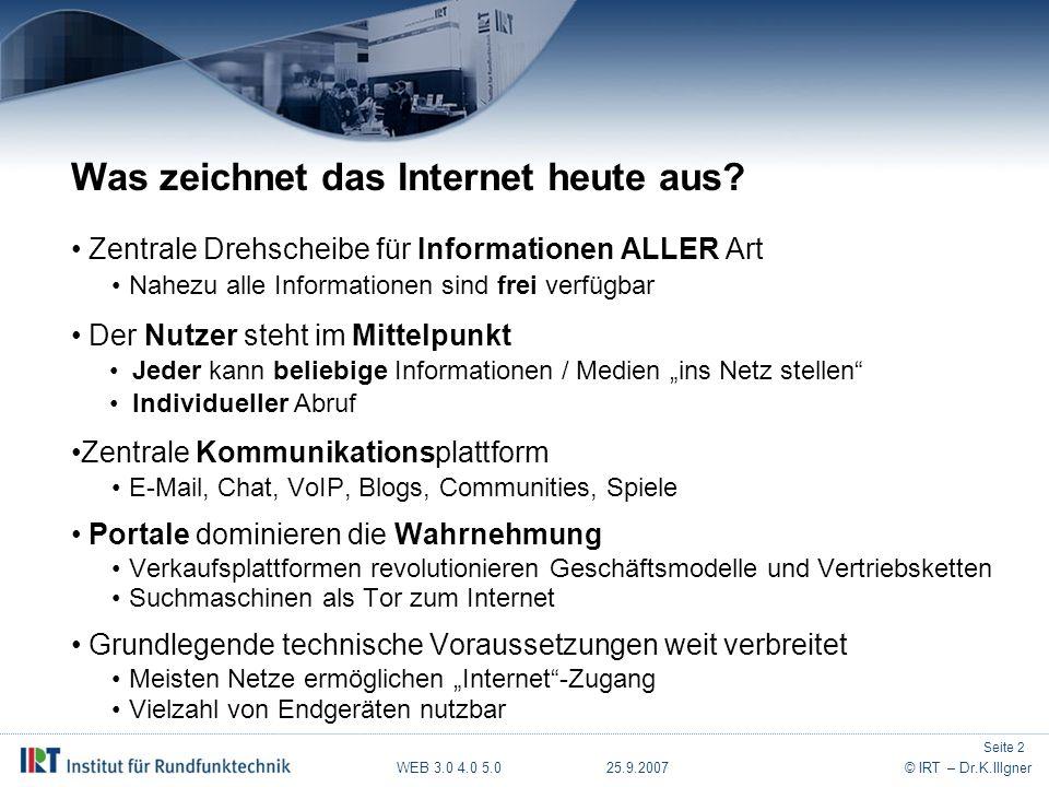 WEB 3.0 4.0 5.0 25.9.2007© IRT – Dr.K.Illgner Einige Thesen zur Weiterentwicklung Kontrollieren Suchmaschinen die Orientierung und Nutzung.