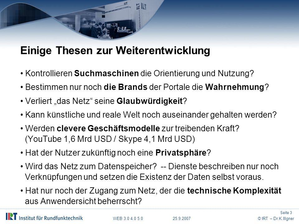 WEB 3.0 4.0 5.0 25.9.2007© IRT – Dr.K.Illgner Vielen Dank für Ihre Aufmerksamkeit .