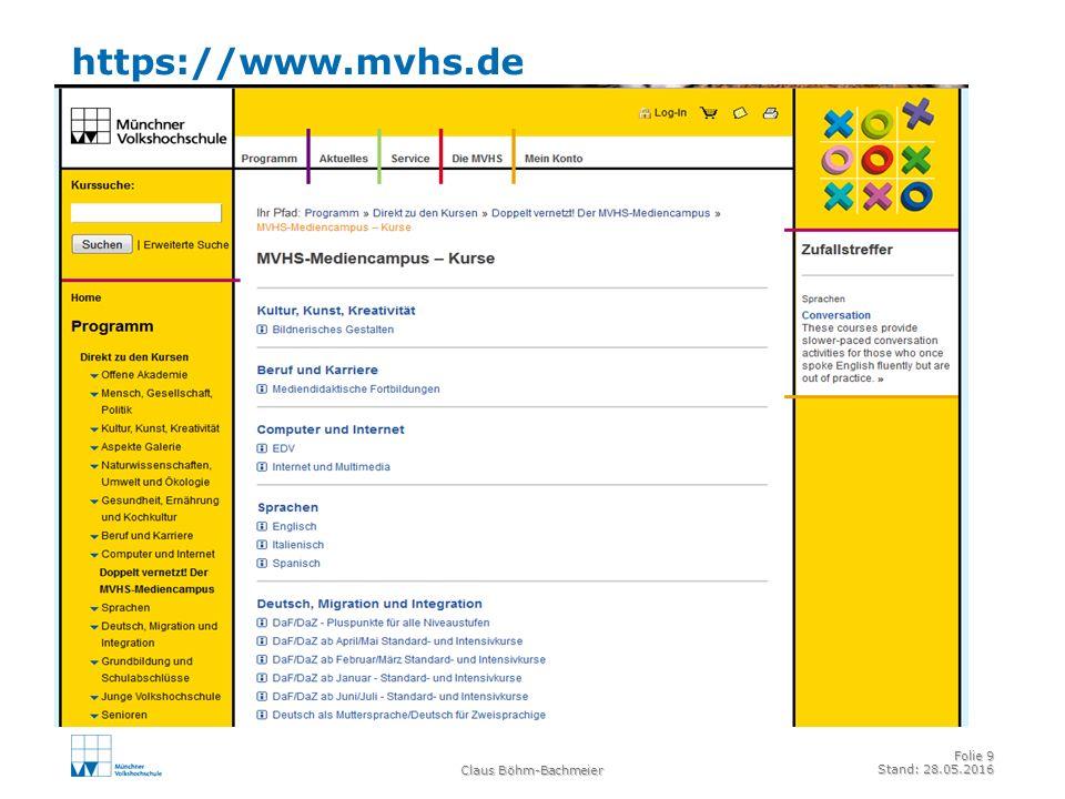 https://www.mvhs.de Claus Böhm-Bachmeier Folie 9 Stand: 28.05.2016