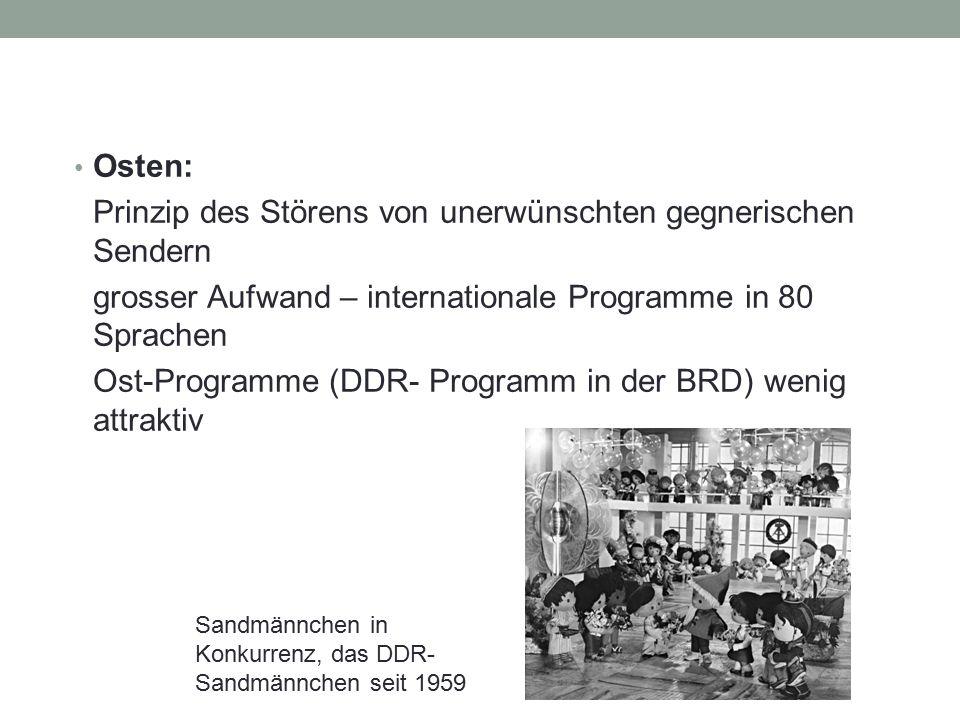 Osten: Prinzip des Störens von unerwünschten gegnerischen Sendern grosser Aufwand – internationale Programme in 80 Sprachen Ost-Programme (DDR- Progra