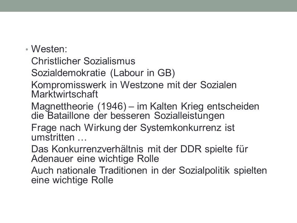 Westen: Christlicher Sozialismus Sozialdemokratie (Labour in GB) Kompromisswerk in Westzone mit der Sozialen Marktwirtschaft Magnettheorie (1946) – im Kalten Krieg entscheiden die Bataillone der besseren Sozialleistungen Frage nach Wirkung der Systemkonkurrenz ist umstritten … Das Konkurrenzverhältnis mit der DDR spielte für Adenauer eine wichtige Rolle Auch nationale Traditionen in der Sozialpolitik spielten eine wichtige Rolle