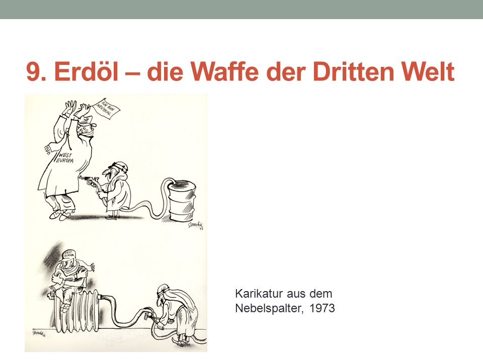 9. Erdöl – die Waffe der Dritten Welt Karikatur aus dem Nebelspalter, 1973