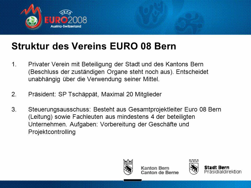 Struktur des Vereins EURO 08 Bern 1.Privater Verein mit Beteiligung der Stadt und des Kantons Bern (Beschluss der zuständigen Organe steht noch aus).