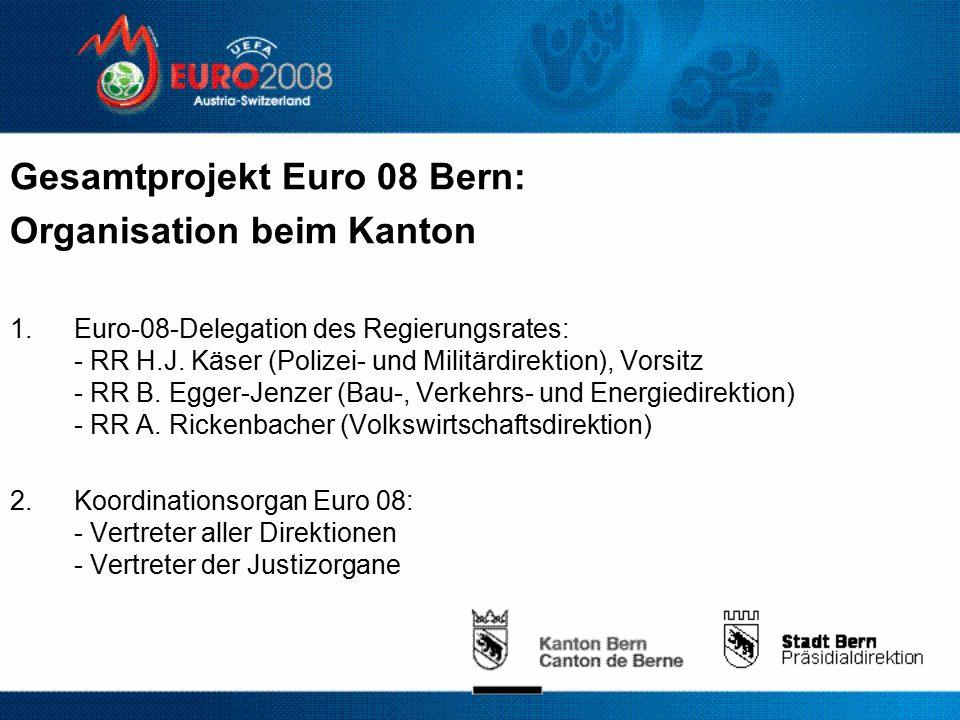 Gesamtprojekt Euro 08 Bern: Organisation beim Kanton 1.Euro-08-Delegation des Regierungsrates: - RR H.J.